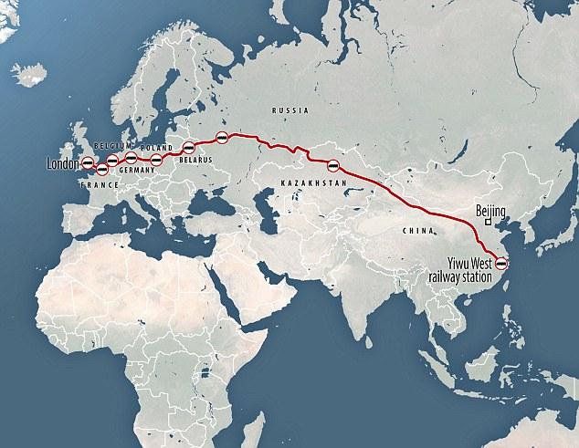 КНР отправил вЛондон 1-ый грузовой железнодорожный состав