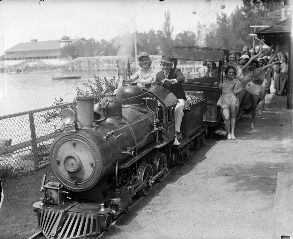 Young women passengers aboard the miniature steam train at Lakeside Amusement Park in Lakeside, Colorado, between 1920 and 1930
