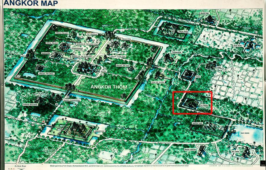 На плане комплекса Ангкор можно заметить несколько десятков храмов, каждый из которых имеет индивиду