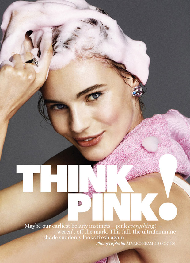 The gorgeous Juju Ivanyuk stars in Think Pink! story captured for American Marie Claire 's Sep