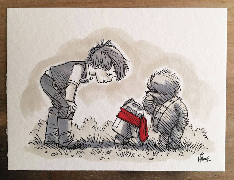 Star Wars Characters Drawn As Winnie The Pooh And Friends (12 pics)