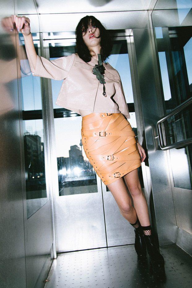 Choker: Gkiokan Karad Couture Jacket: Dorothee Schumacher Skirt: Marina Hoermanseder NetSocks: Wolfo