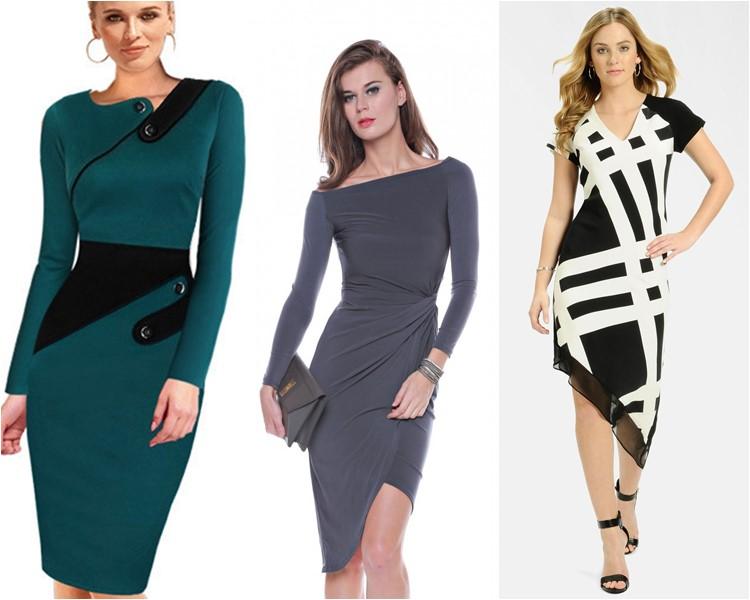 офисные платья асимметричные 2016