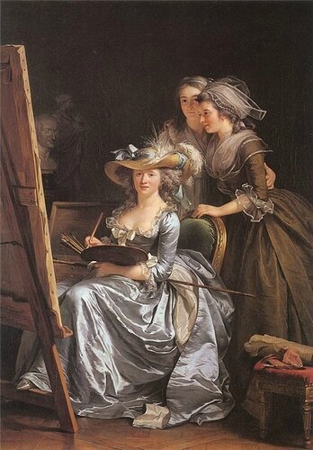 Аделаида Лабиль - Жиар. Автопортрет с двумя моделями 1785 Франция
