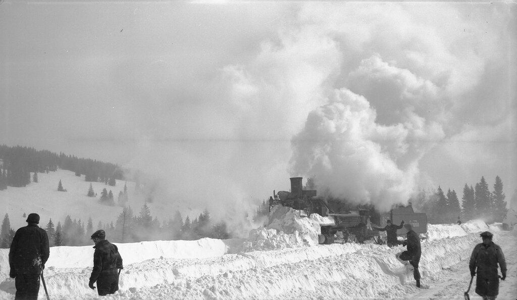 Denver and Rio Grande Western locomotive 487 (2-8-2) plows snow and vents smoke near Cumbres (Conejos County), Colorado, 1949 January 21.