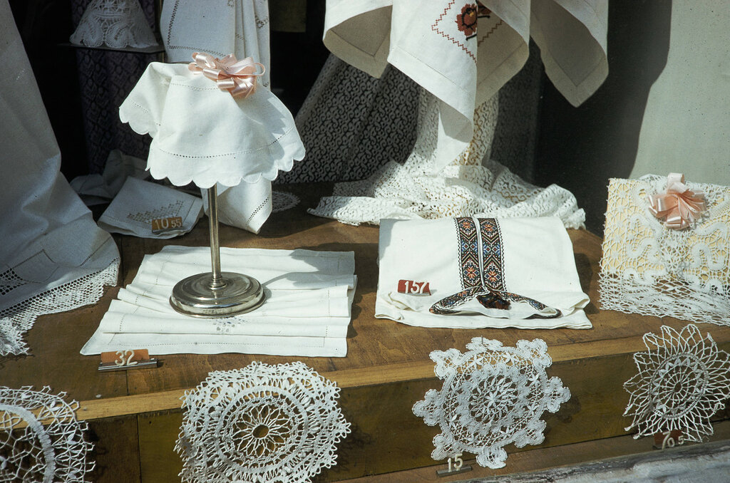 Russia, textiles displayed in window of store in Moscow