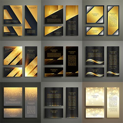 Золотые баннеры для дизайна - Вектор / Gold banners for design - Vector