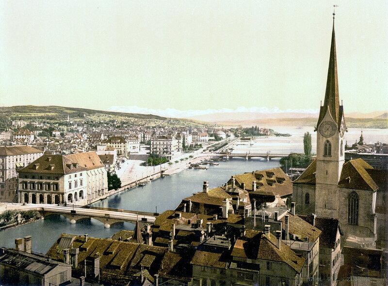 Река Лиммат и собор Фраумюнстер в конце XIX века