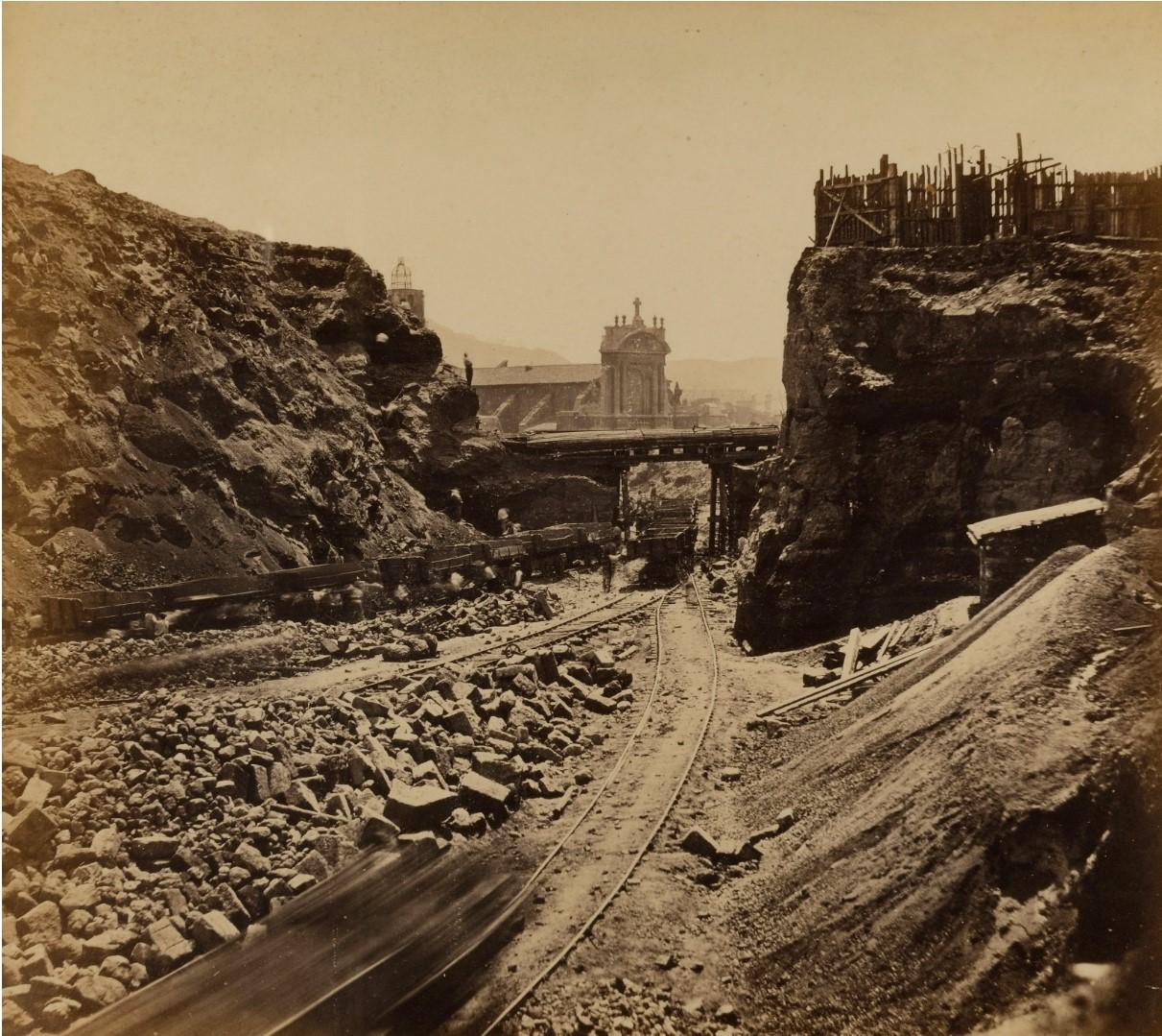 1863. Марсель, Вид на стройку, снятый с середины улицы Монбрион, июнь