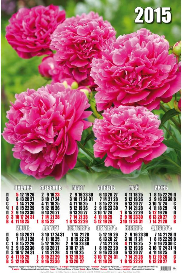 Календар 2015. Півонії листівка фото привітання малюнок картинка