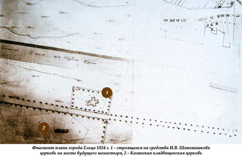 Фрагмент плана города Ельца 1824 ода