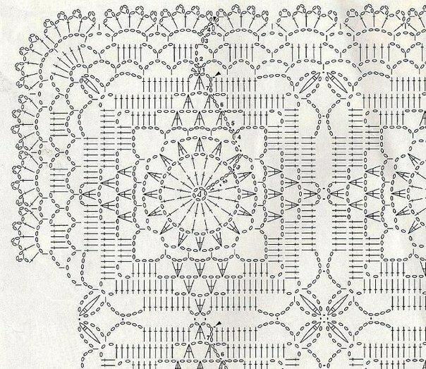Схемы для вязания крючком квадратный мотив 918