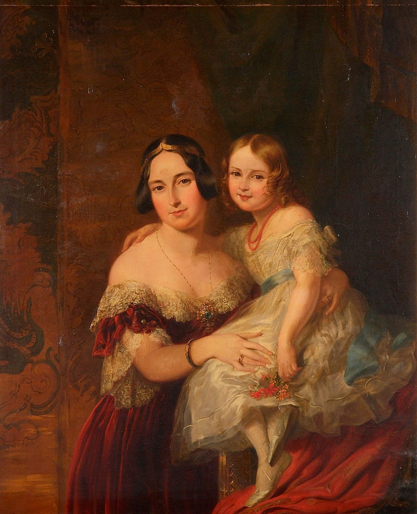 Feodora, Princess of Hohenlohe-Langenburg with her daughter Princess Adelaide