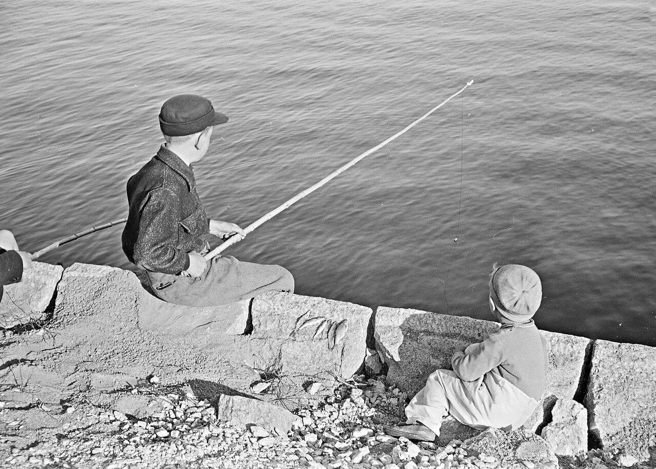 1941. 20 июня. Мальчики на рыбалке в парке Кайвопуйсто