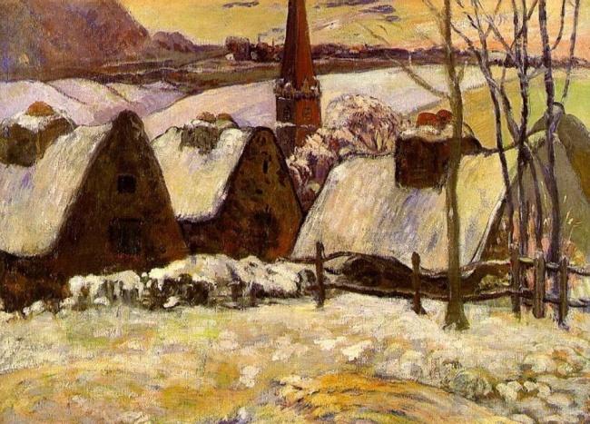 Поль Гоген, «Бретонская деревня под снегом», 1894. Картина Гогена «Бретонская деревня вснегу» была