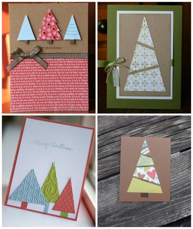 Милые елочки выйдут изобрезков обоев, цветной бумаги, вырезок измодных журналов или специальной бу