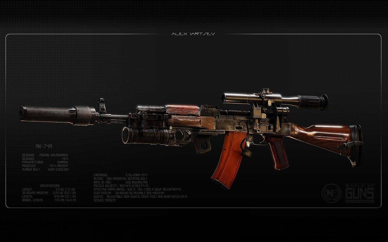 Автомат АК-74 с глушителем и подствольным гранатометом