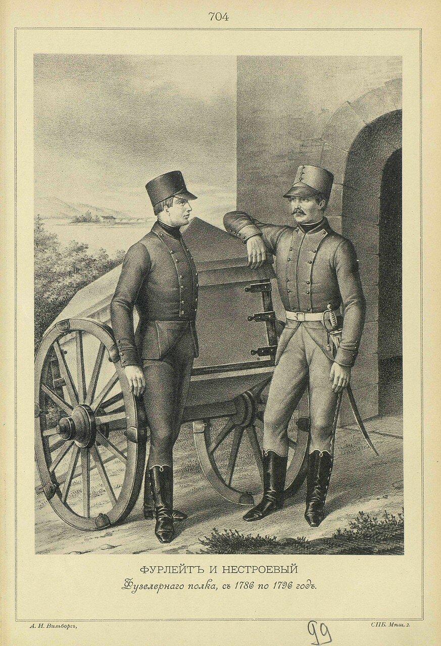 704. ФУРЛЕЙТ и НЕСТРОЕВОЙ Фузелерного полка, с 1786 по 1796 год.