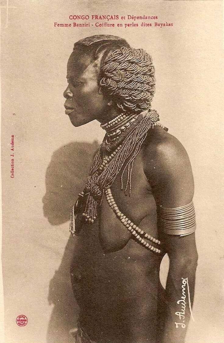 1900. Французское Конго, женщина из племени банзири