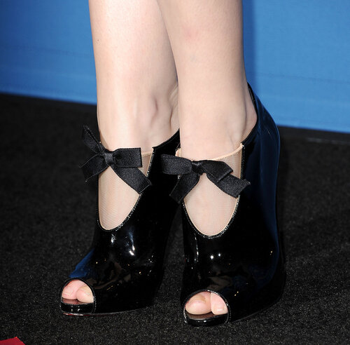 CENTURY CITY, CA - JANUARY 25: Actress Anna Kendrick (shoe detail) poses in the press room at the 66th annual Directors Guild of America Awards at the Hyatt Regency Century Plaza on January 25, 2014 in Century City, California. (Photo by Jason LaVeris/F