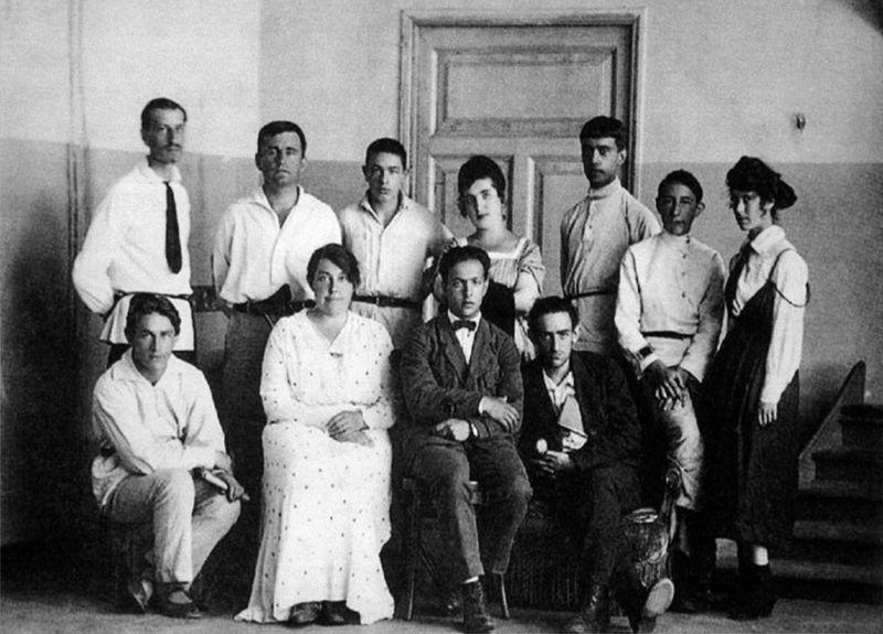 Members of UNOVIS, Vitebsk 1920 Ivan Chervinka, Kazimir Malevich, Yefrem Rayak, Nina Kogan, Nikolai Suetin, Lev Yudin, Evgeniya Magaril M.S. Veksler, Vera Yermolayeva, Ilya Chashnik, and Lazar Khi.jpg