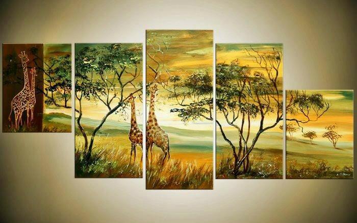 Африканский стиль_Жирафы на прогулке