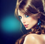 Model with blue make-up and