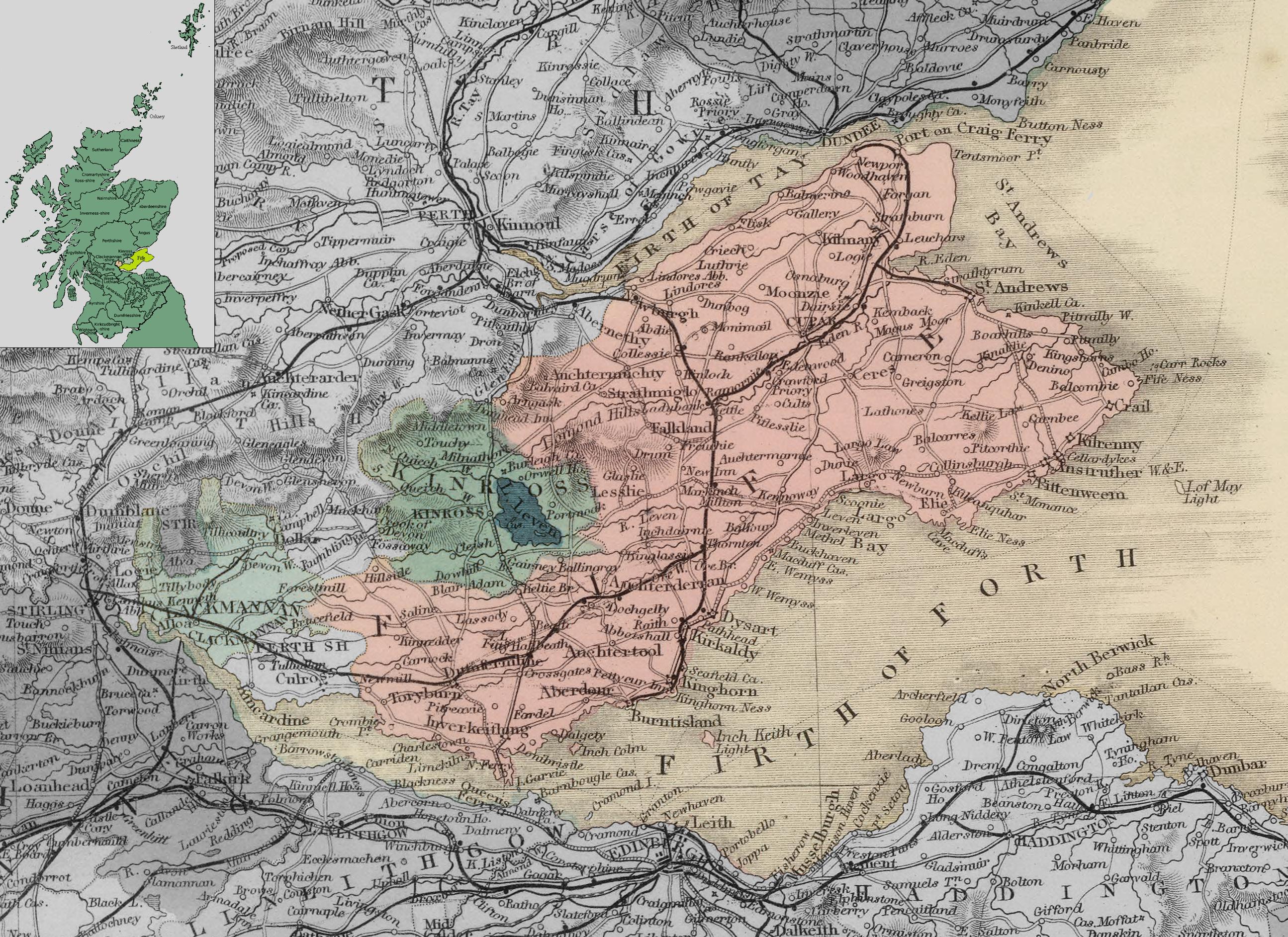 Карта Файфа, Клакманнаншира и Кинроссшира