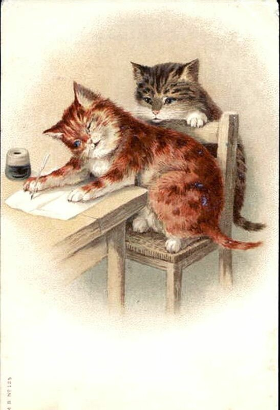 Старинная котенок открытка