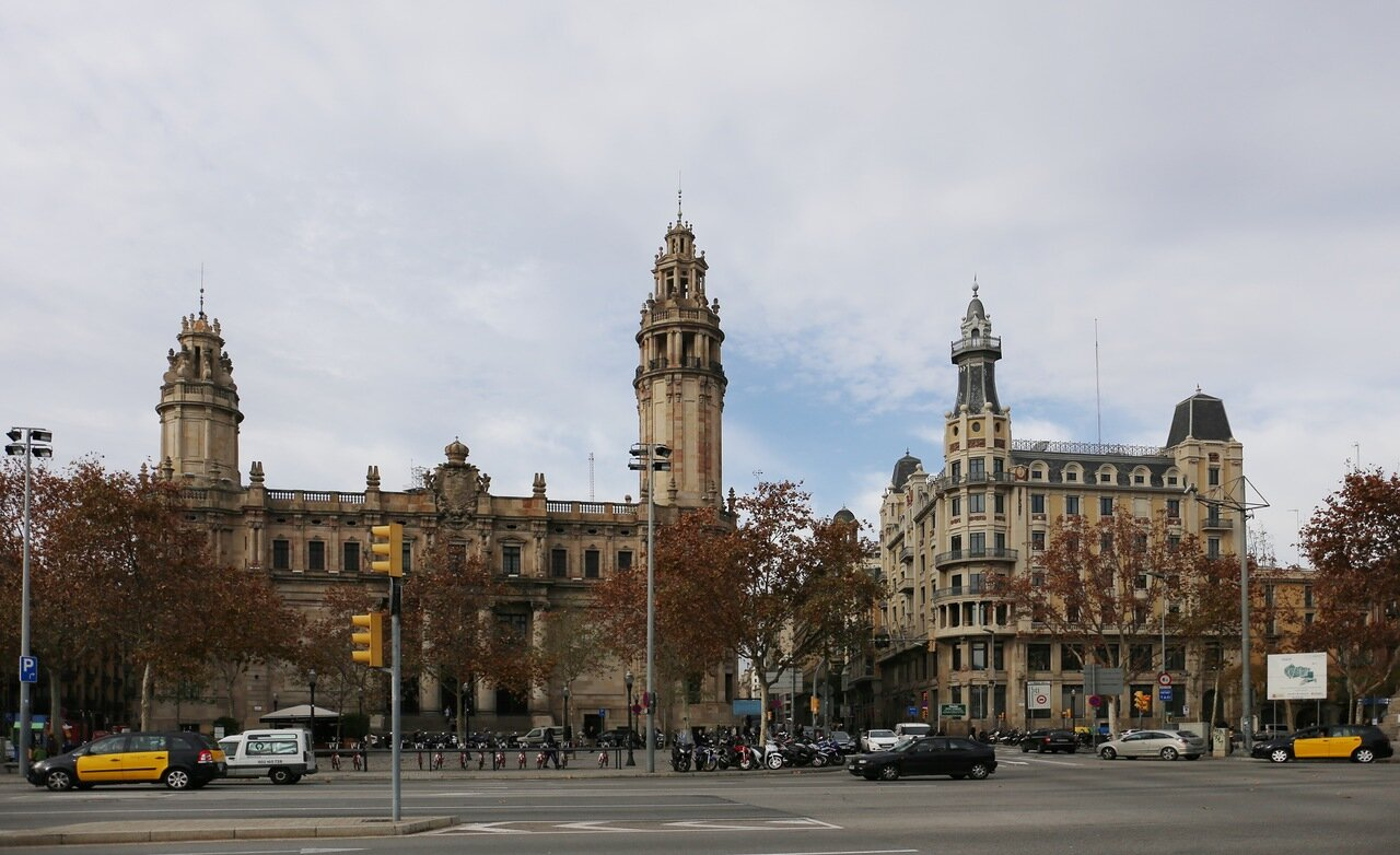 Barcelona. The promenade Moll de la Fusta. The building of the Telegraph