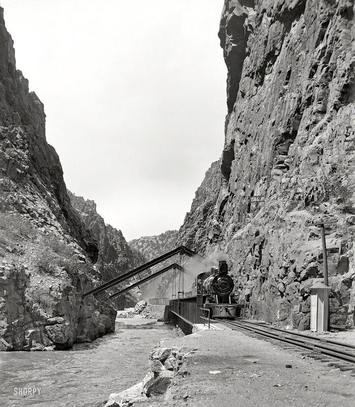 Colorado circa 1900. In the Royal Gorge, Arkansas River, Rio Grande Southern Railway