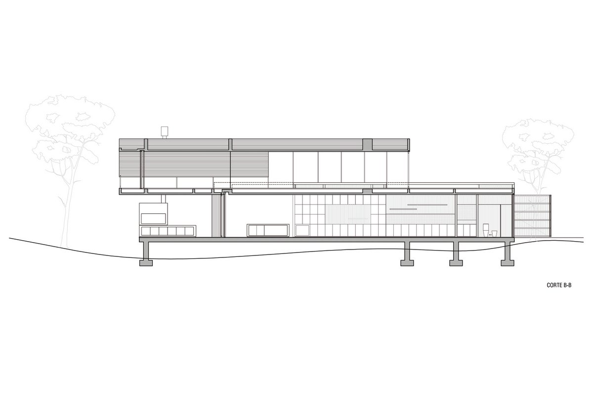 частный дом в лесу, дом в сосновом лесу, ATV arquitectos, дизайн проект дома фото, дом из бетона, интерьеры натуральное дерево