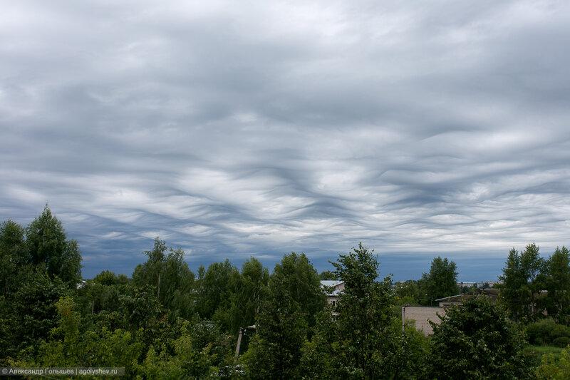 Слоисто-кучевые, волнистые облака.