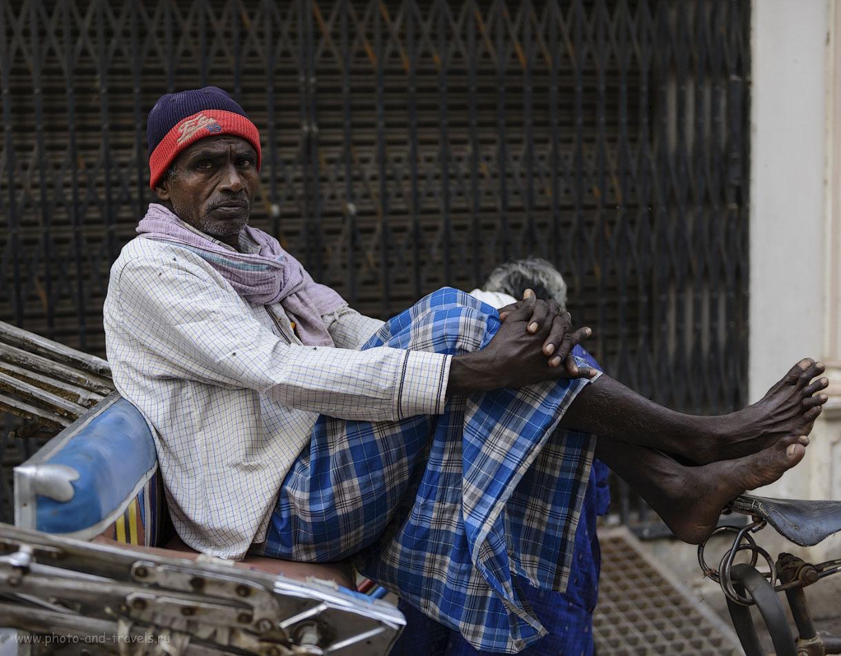 Фотография 4. Обычно, рикша в Индии – это гастарбайтер из ближайшего пригорода, приехавший на заработки в большой город. 1/500, -0.33, 2.8, 250, 42.