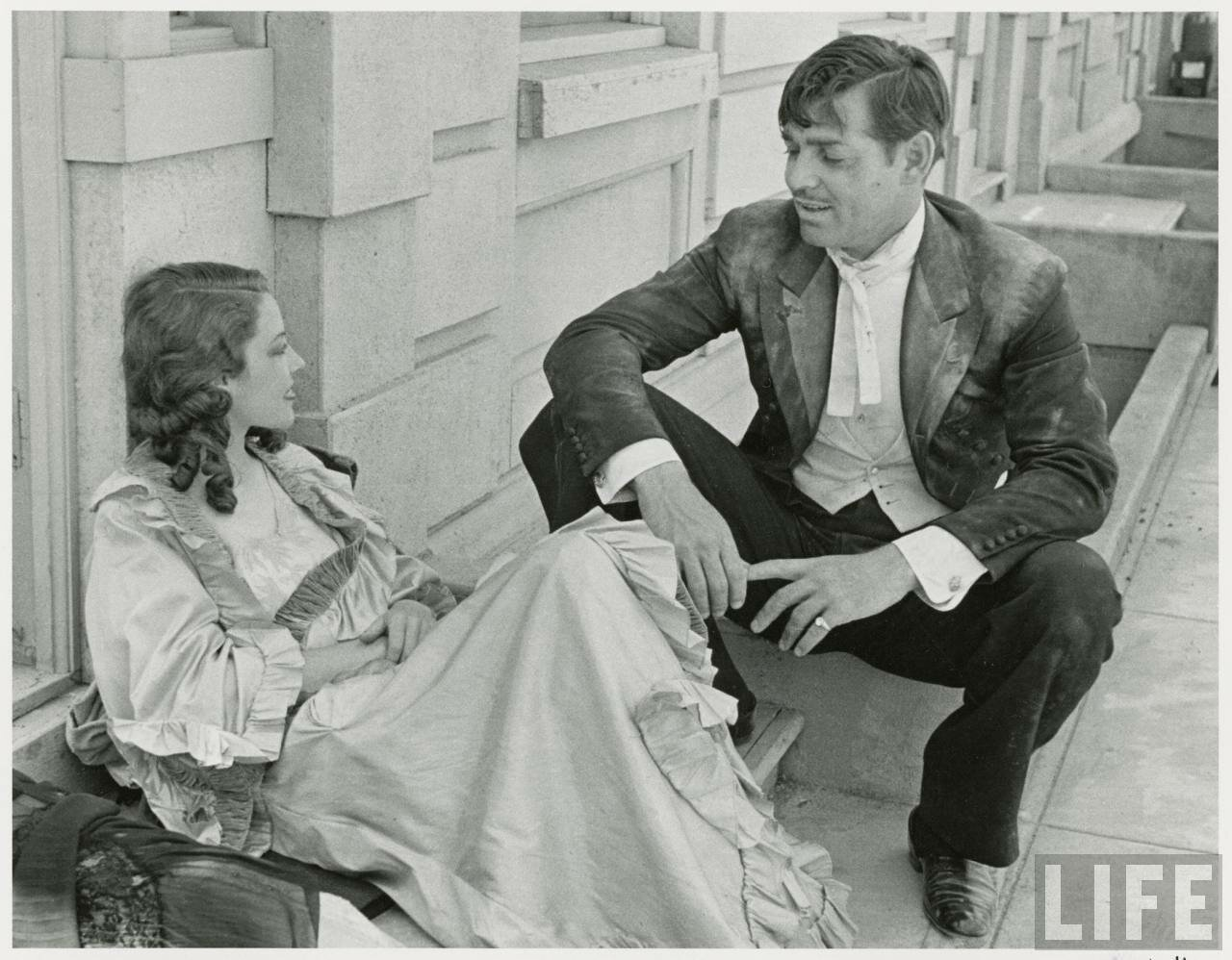 1936. Актер Кларк Гейбл с актрисой Жанетт Макдональд во время съемок фильма «Сан-Франциско»