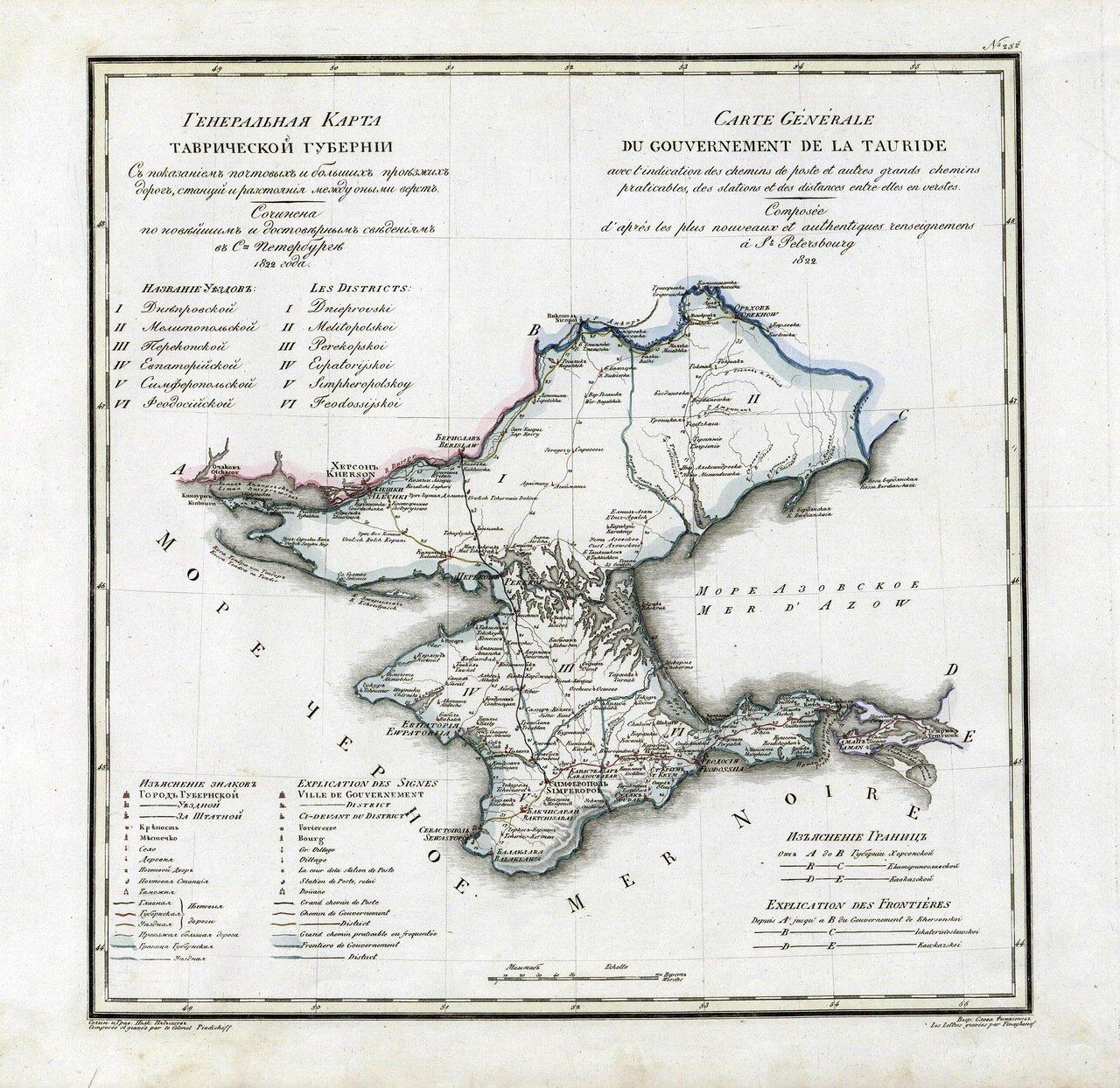 1822. Генеральная карта Таврической губернии
