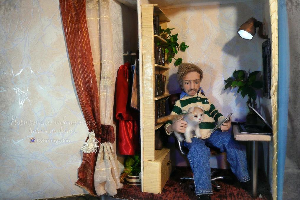Портретная текстильная кукла по фото Андрей. Объёмное лицо. Необычный подарок, авторская кукла, текстильная кукла, шарнирная кукла, интерьерная кукла, необычная кукла, люди, портретная кукла, кукла по фото, что подарить, идея подарка, лучший подарок