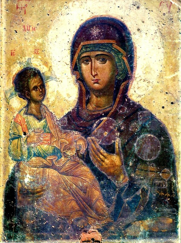 """Чудотворная икона Божией Матери """"Троеручица"""". Монастырь Хиландар на Святой Горе Афон."""