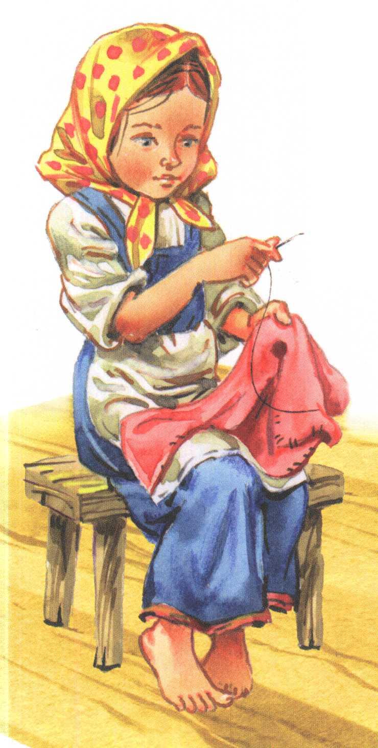 Девочка шьет картинка для детей