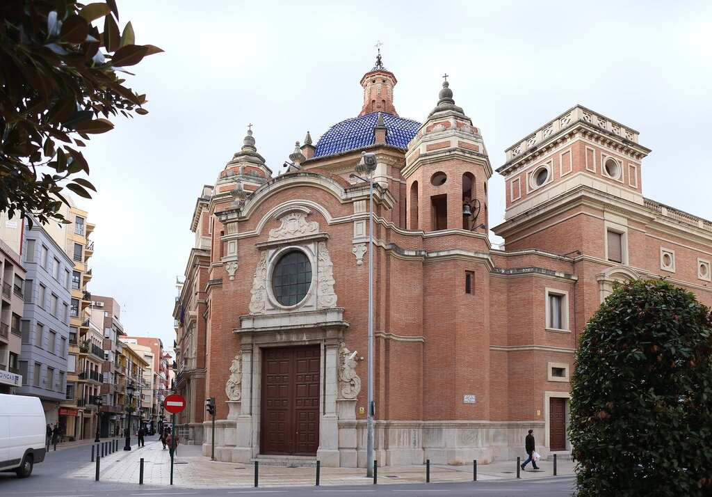 Castellon de La Plana. The Area Of Maria Agustina. Plaza María Agustina, Church of the Pure blood, Iglesia de la Purísima Sangre