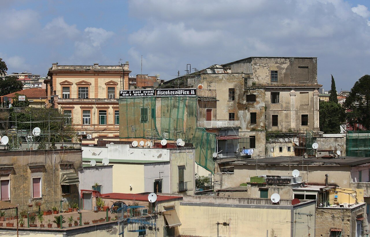 Naples. The view from the observation deck of Santa Lucia