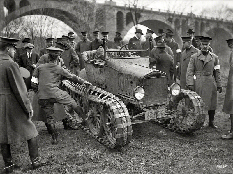 Washington, D.C., circa 1920. Army car at Connecticut Avenue Bridge. Another view of the modified Model T