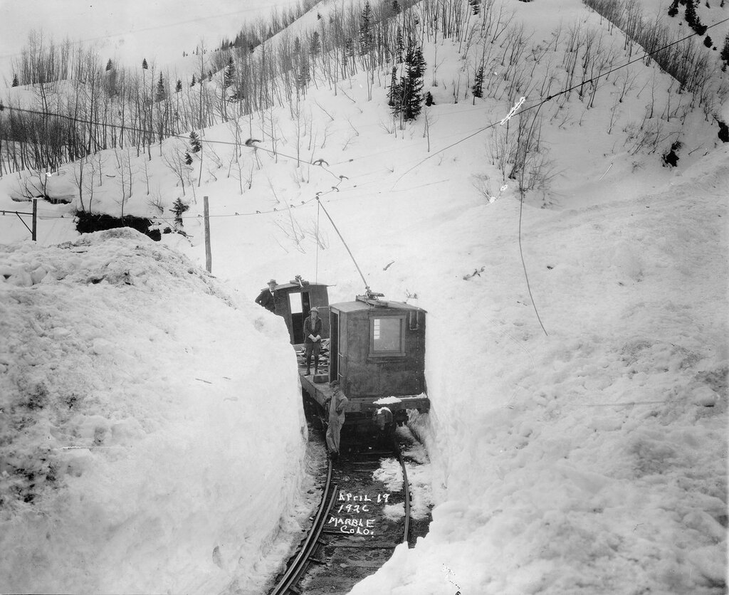Yule Marble Electric Tramway work car in deep snow near Marble (Gunnison County), Colorado. 1926 April 19.jpg