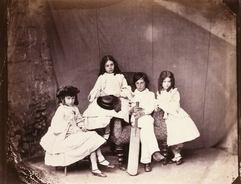 NPG P991(7); Alice Liddell; Ina Liddell; Harry Liddell; Edith Mary Liddell by Lewis Carroll (Charles Lutwidge Dodgson)