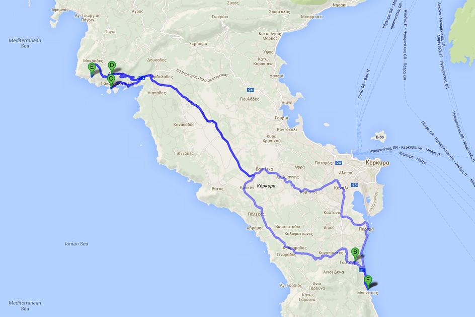 Автомобильный маршрут по острову Корфу