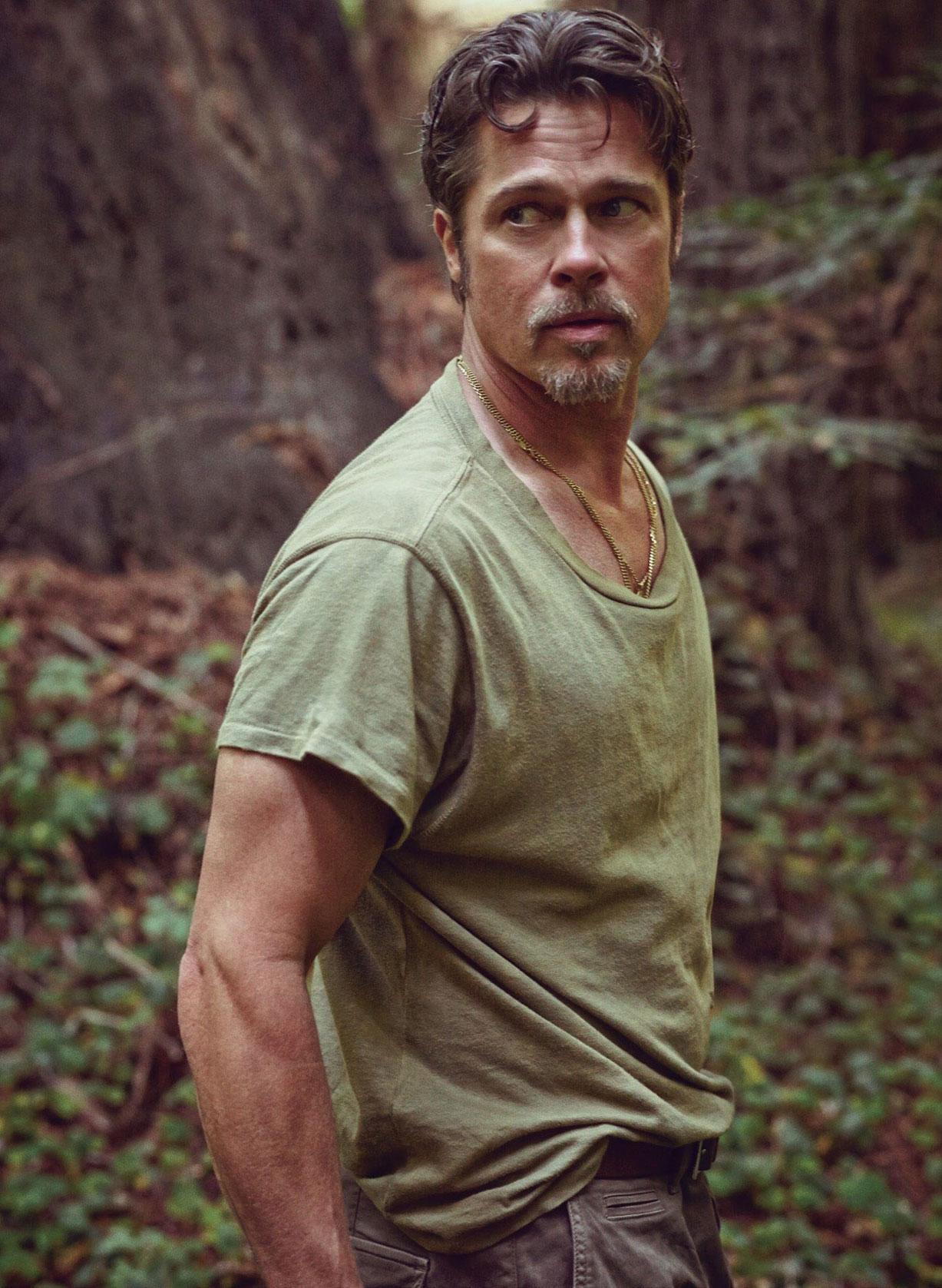 на природе с мотоциклом - Брэд Питт / Brad Pitt by Mark Seliger - Details Magazine november 2014