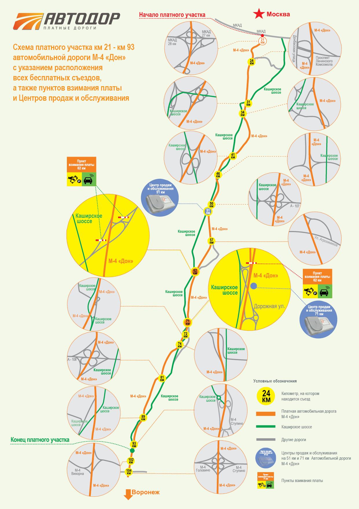 схема трассы м4 дон участок 492 - 517 км