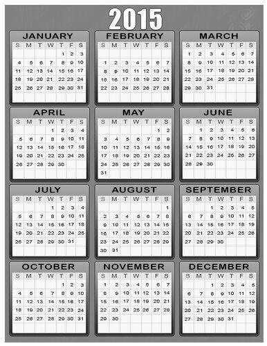 Календарь 3015 г. Серый фон. calendar 2015 открытка поздравление картинка