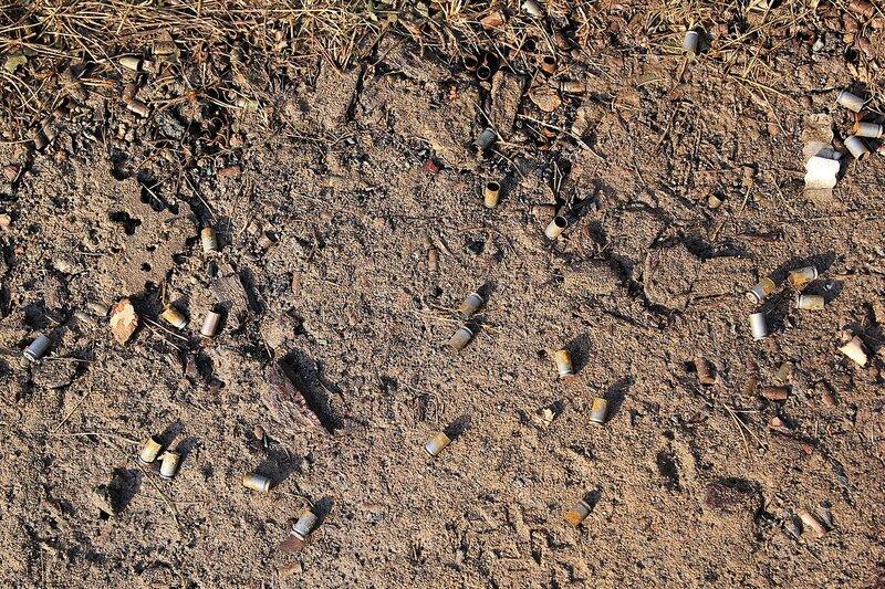 гильзы от ПМ (пистолета Макарова), разбросанные по земле