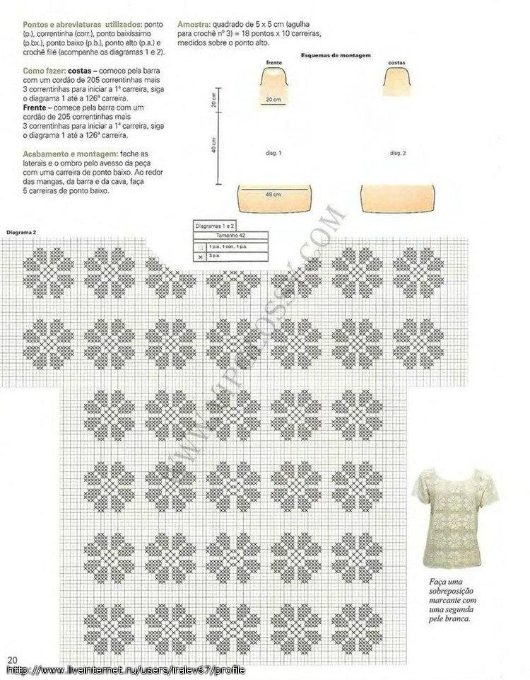 Филейное вязание летних кофточек схемы 415